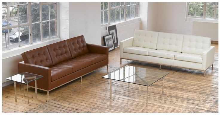 Florence knoll style sofa 3 seat cream white premium leather furniture pinterest - Florence knoll sofa gebraucht ...