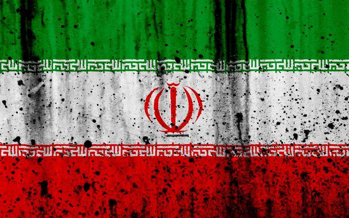Download wallpapers Iranian flag, 4k, grunge, flag of Iran, Asia, Iran, national symbols, Iran national flag