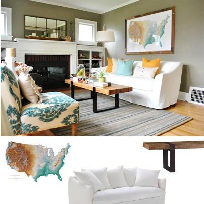 Un salon classique avec une carte des etats unis en guise for Decoration murale wish