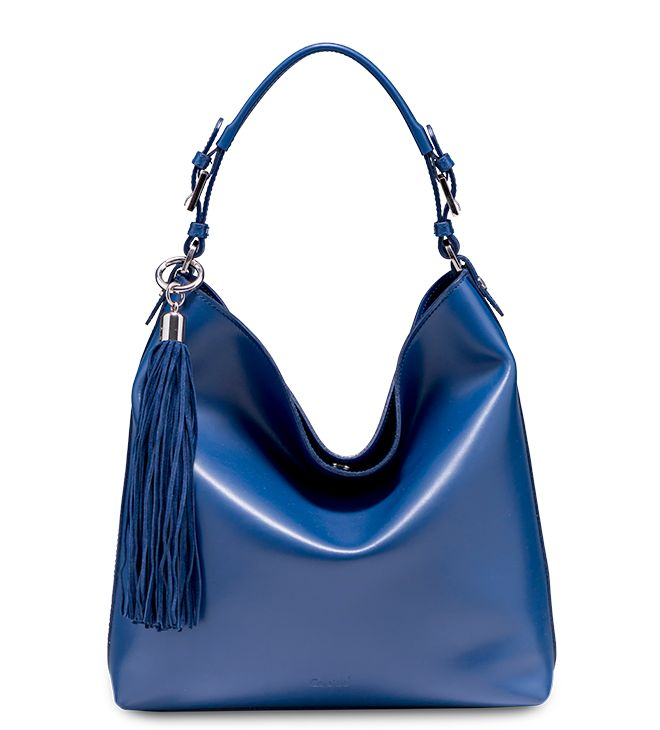 Blue leather Hobo bag made in Italy by Caleidos_ Model:Begonia