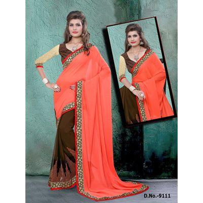 Buy Sareeline Orange Georgette Saree by Mor Mukut Fashion, on Paytm, Price: Rs.2001