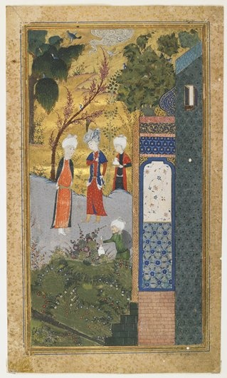 A beautiful arrangement of forms and richly orchestrated colors, rather than the illustration of a specific narrative, distinguishes this lovely miniature. The romantic fairyland world it depicts is drawn from the work of the well-known Persian author Sa'di.