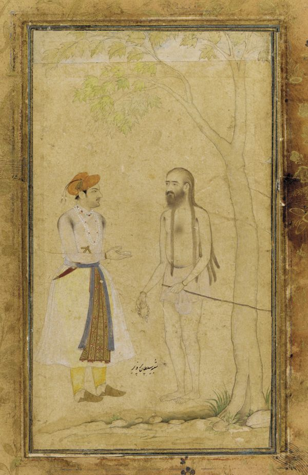 the moghol prince parviz & a holy man early 17s