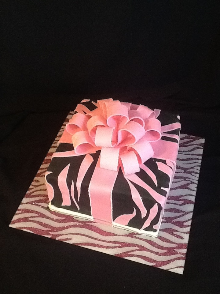 Pink Zebra cake with zebra like pattern on the inside simply by layering chocolate batter and pink vanilla batter over and over!   Delicious;)