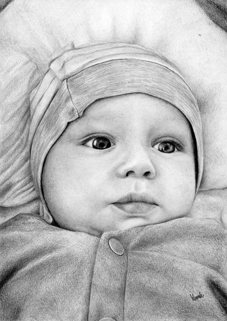 Portret niemowlaka wykonany ołówkiem.