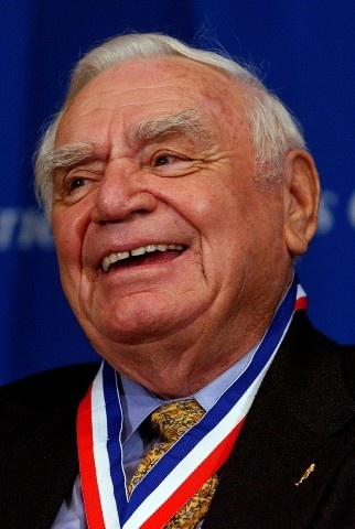 Ernest Borgnine smiles after receiving the World War 2 Veteran Medallion