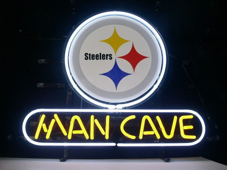 New Nfl Pittsburgh Steelers Man Cave Real Glass Neon Light
