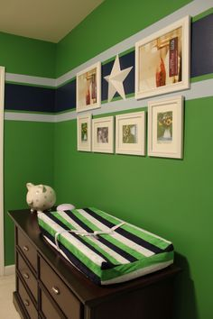 """Navy blue & green walls for a boy's room!@ Jen Auchterlonie for Mason's bedroom, would look good with the pop of red from his bed too...good growing """"big boy"""" colors."""