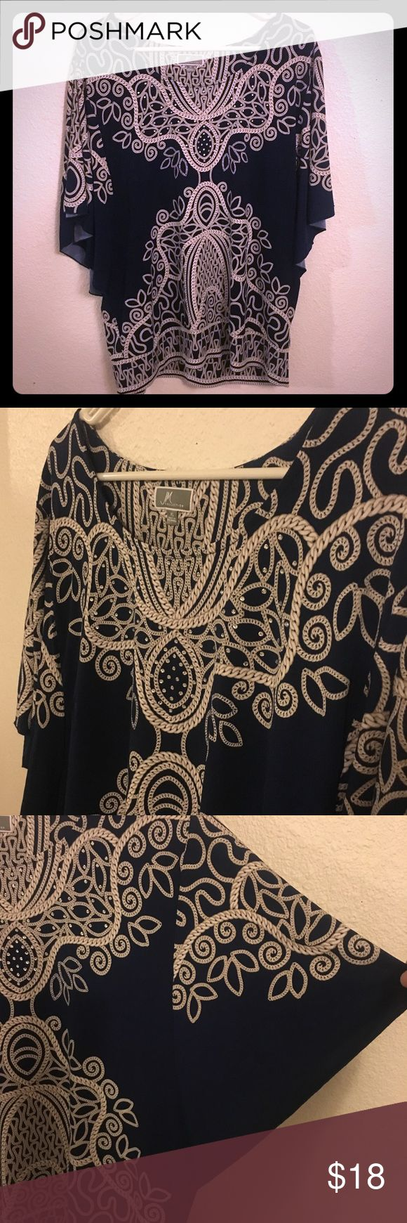 Embellished Batwing Top Navy blue and tan / buff / nude with Crystal like embellishments around neck line. Size XL by JM Collection JM Collection Tops