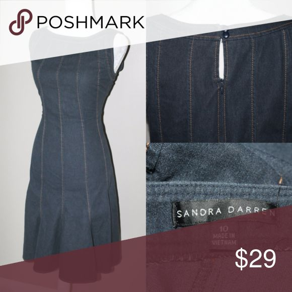 SANDRA DARREN Dark Denim Fit and Flare dress Dark denim Work dress Look out casual Fridays this cute little fit and flare denim dress is super flattering and great in the work or school enviroment it is a knee length modest dress with style. Sandra Darren Dresses