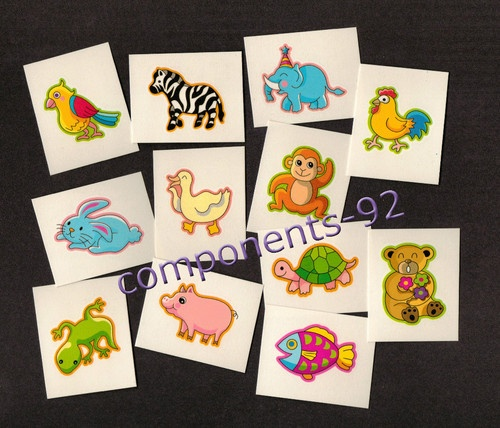 36 Childrens Temporary Cute Animal Tattoos - Party Bag Fillers/Toys/Favours | eBay