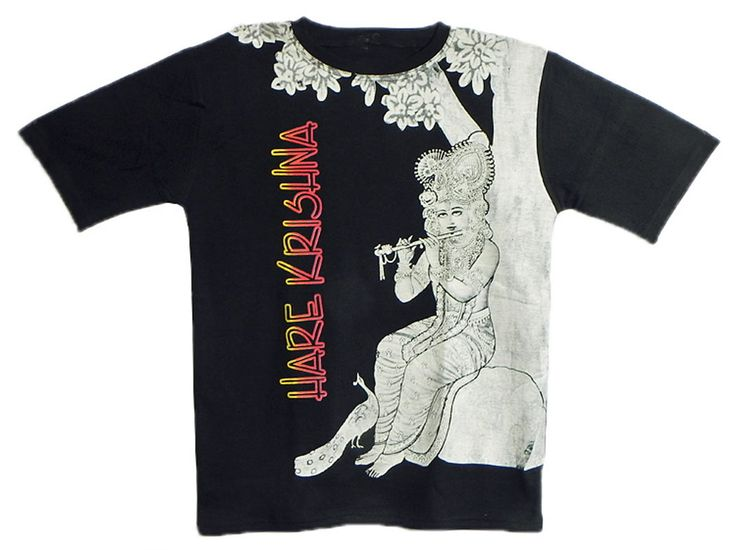 Printed Krishna on Black T-Shirt (Cotton)