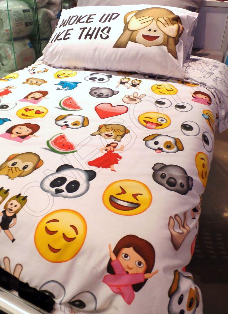 emoji themed bedroom | Emoji Facial Expresions Parure DE LIT Taille Simple…