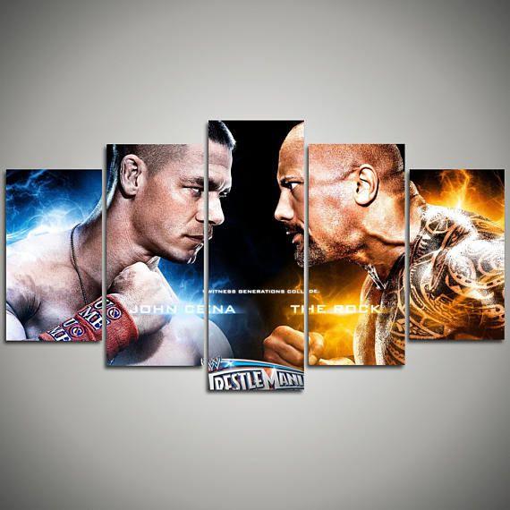 The Rock vs John Cena Sports Art Print Wrestling Poster - Dwayne Johnson - motivational art home decor - Fathers Day Office Decoration 119…