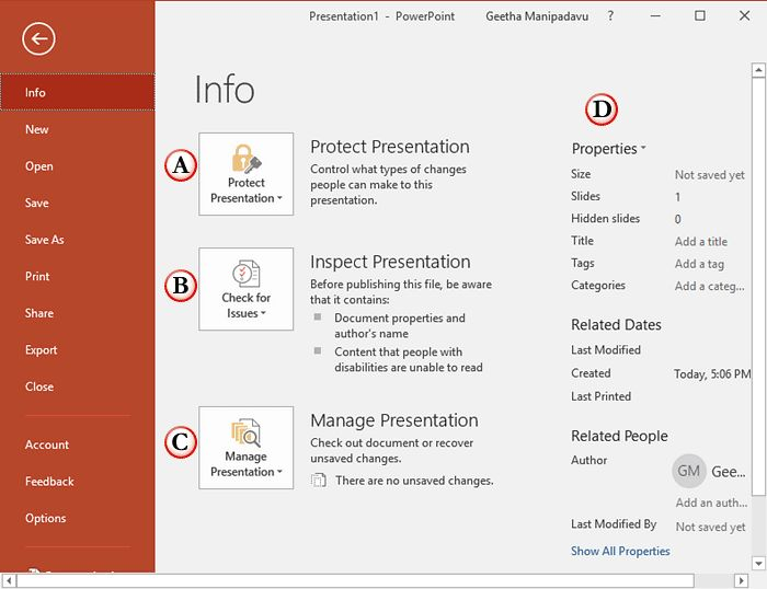 Backstage View – #Info-Pane in #PowerPoint 2016 for Windows