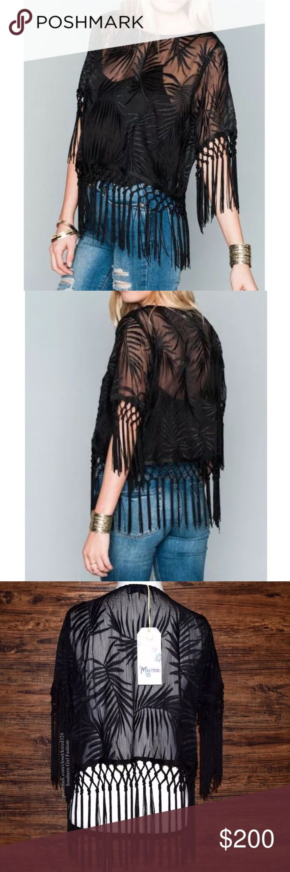 SHOW ME YOUR MUMU Top Classic Patterned Bohemian Available Sizes: Small. New With Tags. $128.00 MSRP + Tax.  • Beautiful black embroidered top featuring knotted fringe tassels at sleeves and bottom hem.  • Intricate textured fabric with leaf design throughout. • Unlined silhouette. • Camisole lining on model not included. • Polyester. • Made in the USA.   {Southern Girl Fashion - Closet Policy}  ✔️ Same-Business-Day Shipping (10am CT) ✔️ Reasonable best offer considered when submitted with…