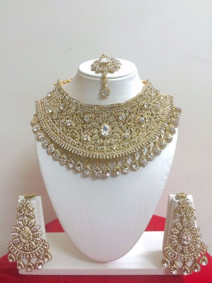 Indian Bollywood Style Fashion Gold Plated Bridal Jewelry Necklace Set #CrownJewel