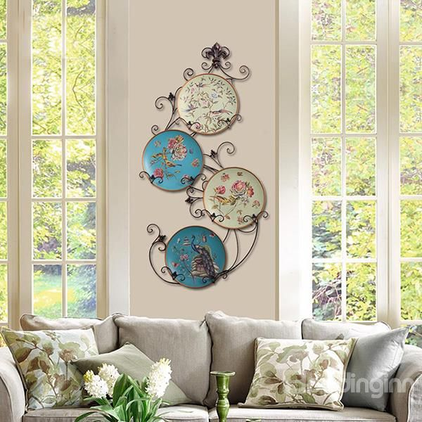 Beautiful Countryside Style Ceramic Flower And Bird Wall Decoration Home Decor Wall