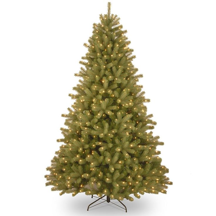 National Tree Company 7.5-ft. Pre-Lit Dual Color ''Feel-Real'' Lakewood Spruce Artificial Christmas Tree Floor Decor, Green