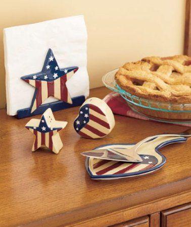 Amazon Com 4 Piece Americana Napkin Holder Amp Salt And