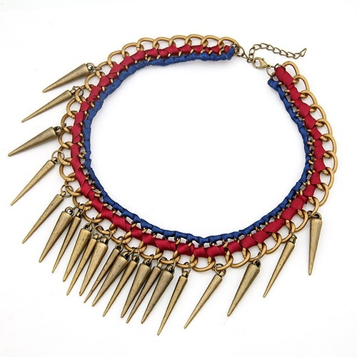 Multi-spike Charm Layered Leather Blue Necklace@10061775
