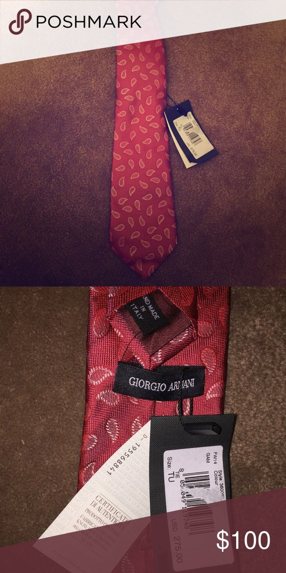 Georgio Armani Tie Classic Brick Red Paisley Tie Armani Other