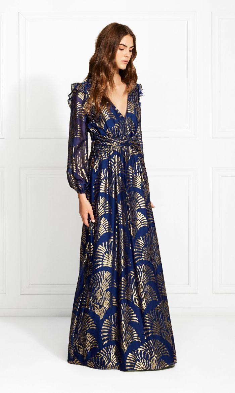 Lennon Art Deco Metallic Fil Coupe Maxi Dress Rachel Zoe Maxi Dress Rachel Zoe Dresses Dresses [ 1170 x 700 Pixel ]