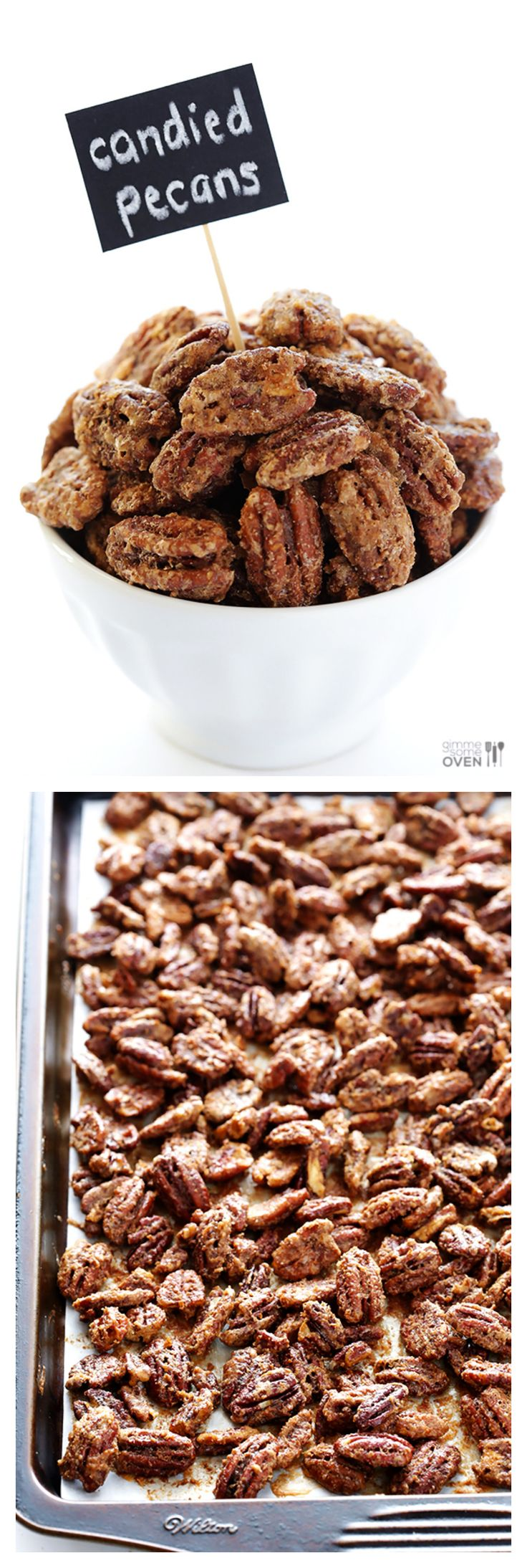 Candied Pecans -- made with just 7 easy ingredients, and perfect for toppings salads, desserts, or just eating plain! | gimmesomeoven.com