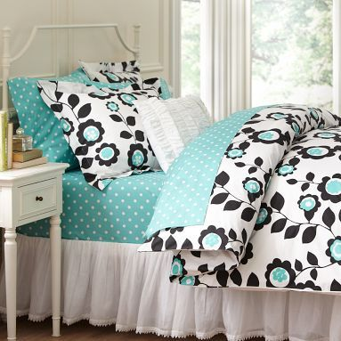 Black turquoise floral bedding roomspiration pinterest for Black and white bedding with turquoise walls