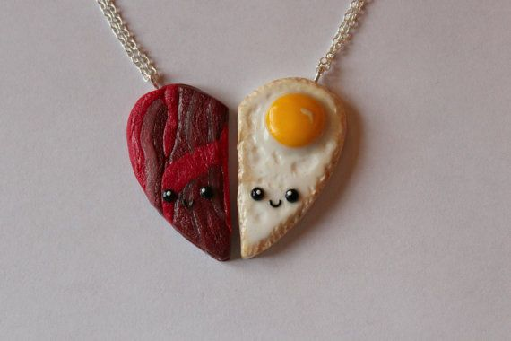 Bacon and Eggs Friendship Necklaces or by CharmingClayCreation, £7.50