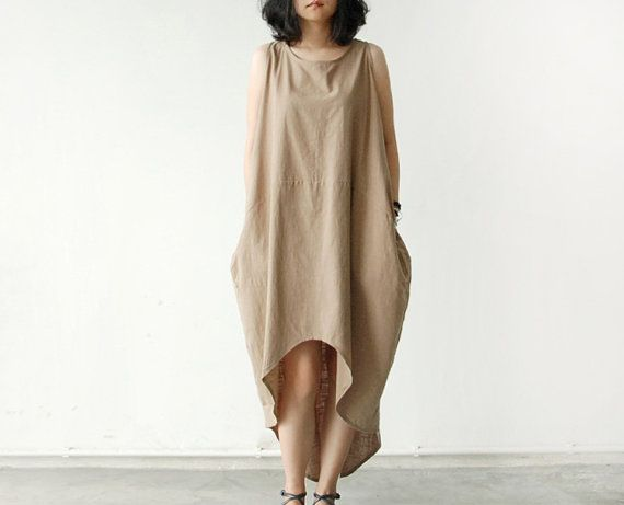 Coffee Cotton Linen Wide Loose Fitting Long Dresses Women