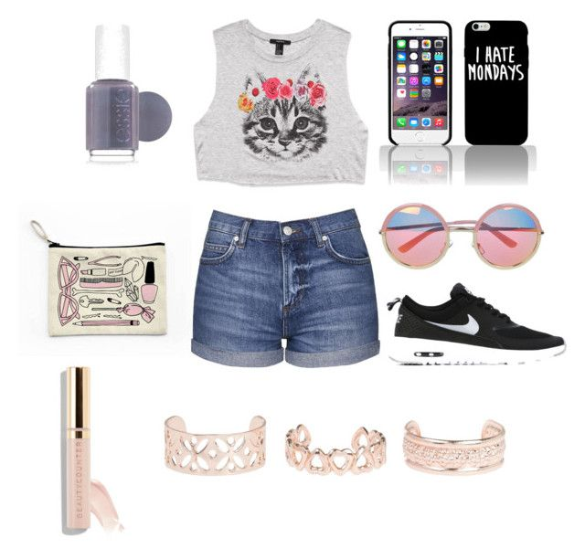 """""""😍😍😍😍"""" by briana-maria-simon on Polyvore featuring Forever 21, Topshop, NIKE, Essie, Chicnova Fashion and New Look"""
