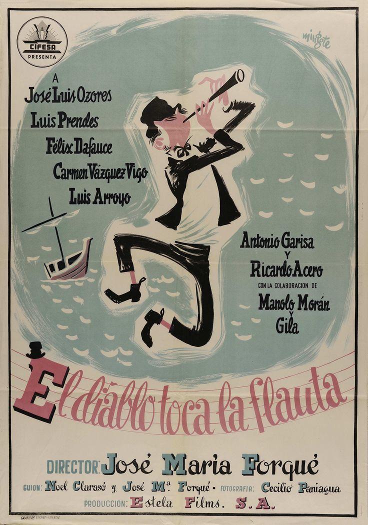 """""""El diablo toca la flauta"""", José María Forqué, 1954. Con José Luis Ozores, Luis Prendes, Félix Dafauce..."""