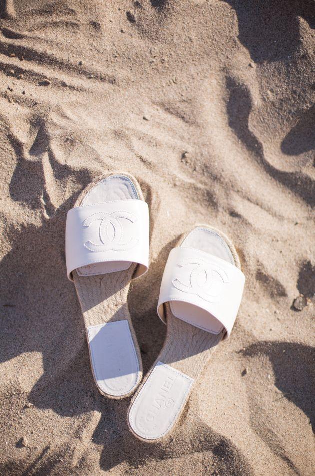 White Chanel sandals