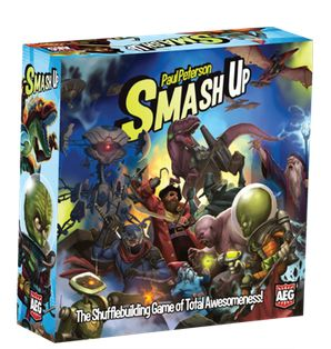 Smash Up $21 The `shufflebuilding` game Smash Up starts with a simple premise: Take the twenty-card decks of two factions, shuffle them into a forty-card deck, then compete to smash more Bases than your opponents! Each faction brings a different game mechanism into play ` pirates move cards, zombies bring cards back from the discard pile, dinosaurs have huge power ` and every combination of factions brings a different play experience.
