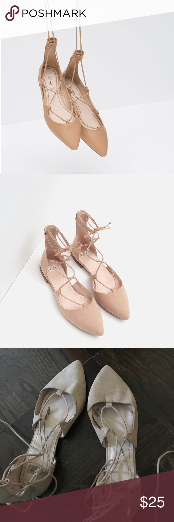 Zara pink beige lace up ballet flats Purchased from Zara. Faux suede. Some very small signs of wear than can be washed off. Some parts of the laces are slightly damaged but not visibly. Size 38. Elegant Zara Shoes Flats & Loafers