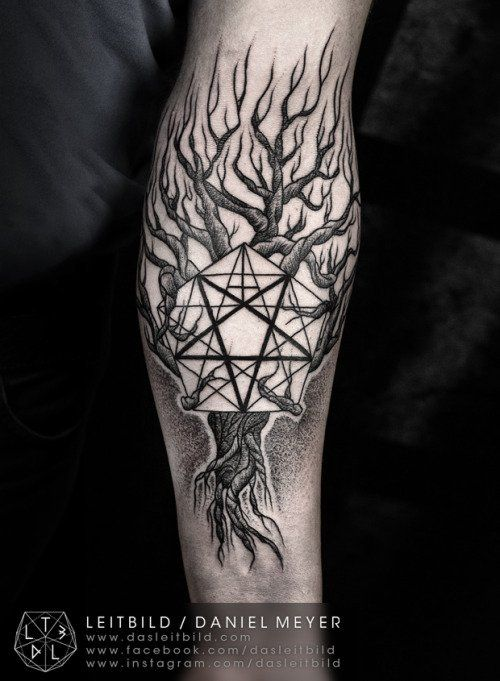 Pentacle tree tattoo, also by Daniel Meyer.