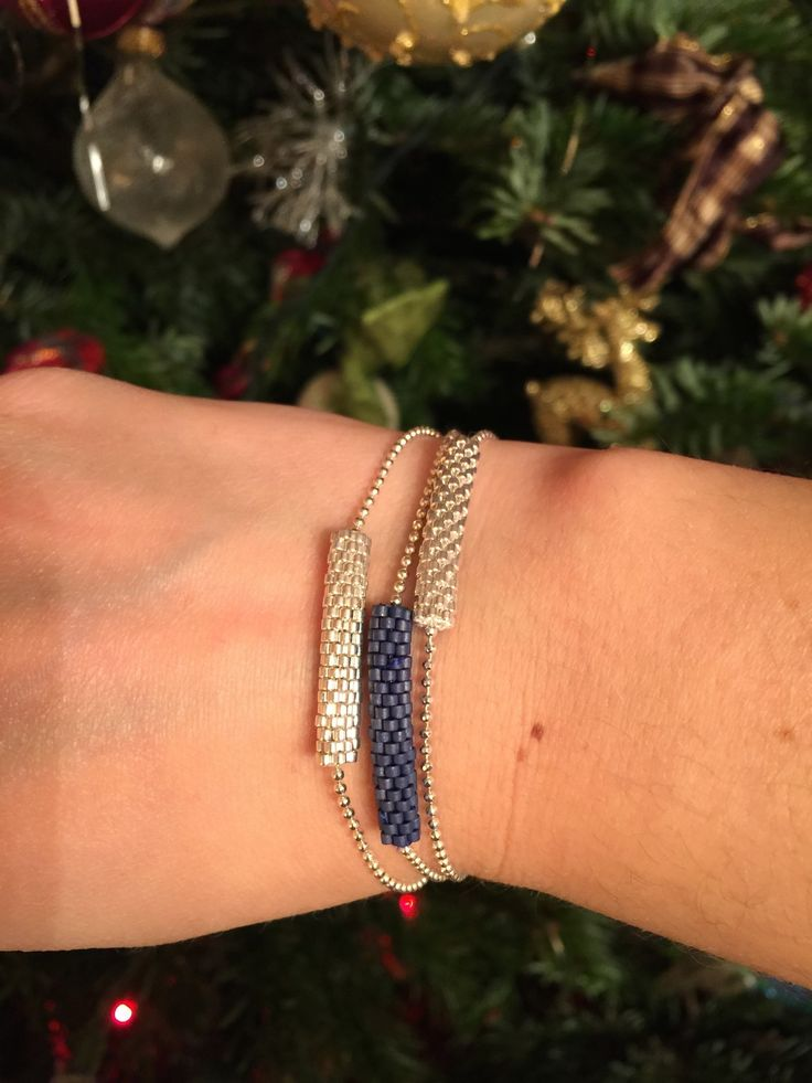 bracelet tubes tisse en peyote personnalisable : Bracelet par nuagedecoton