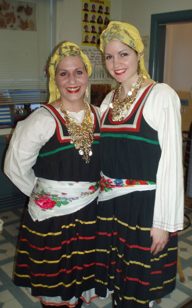 Two Hellenic Dancers of New Jersey in the traditional folk costume of the island of Rhodes.
