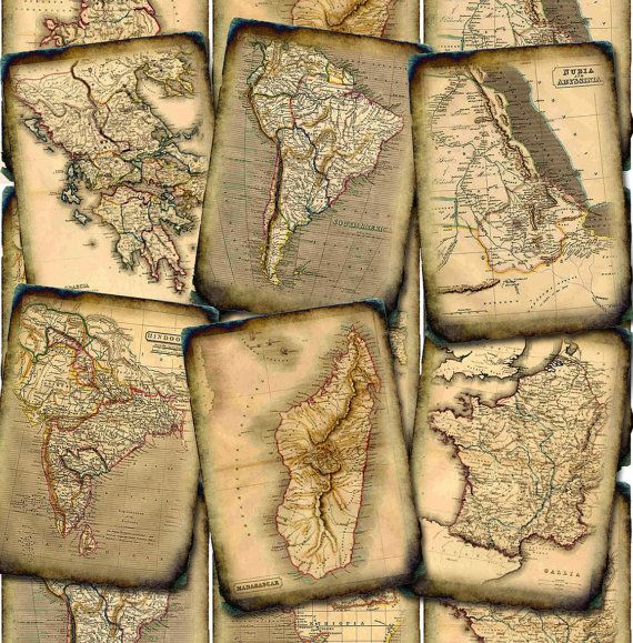 MaPS TaTTeReD & Antiqued Vintage Art Hang/Gift by thephotocube, $2.50