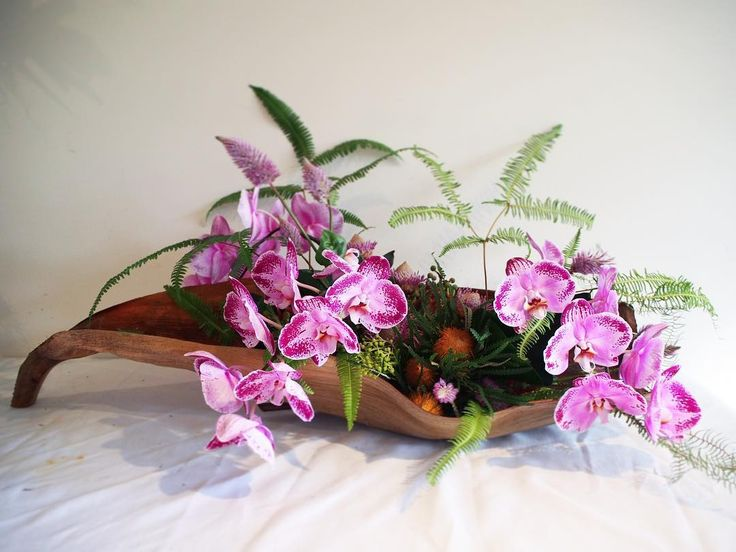 Bloodwood Botanica | Husk arrangement for one very special birthday  Purple Phalaenopsis orchids are combined with native australian flowers. All locally grown and long lasting flowers, Sydney based sustainable floristry.