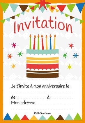 Carte invitation anniversaire enfant gratuite à imprimer. Taille : 9cm x 13cm