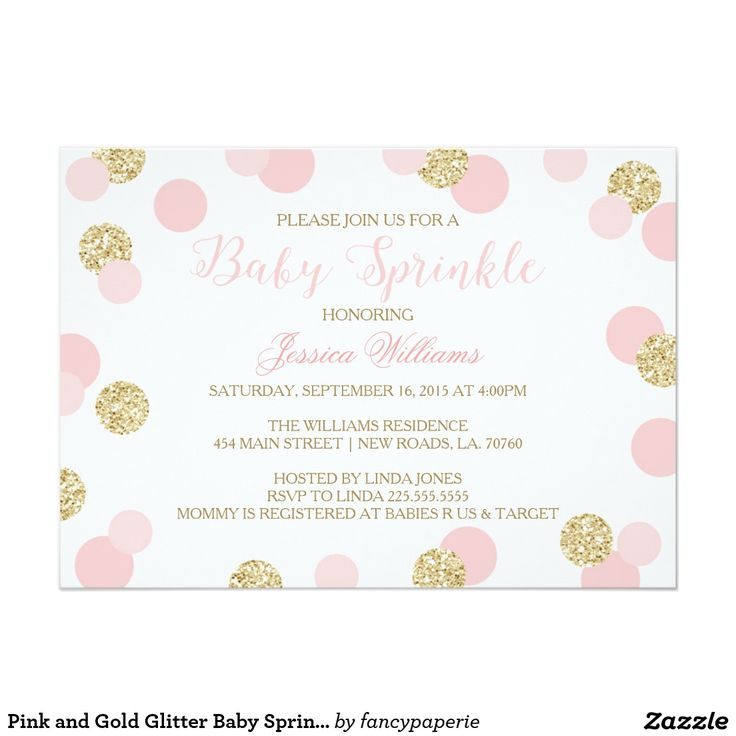 "Pink and Gold Glitter Baby Sprinkle Invitations 5"" X 7"" Invitation Card"