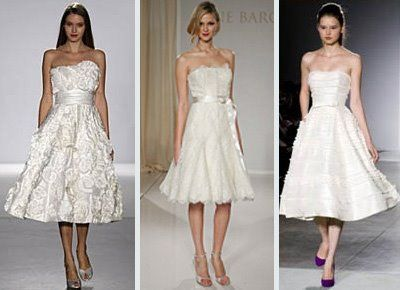 This set of wedding dresses shows Harmony in color, similar skirt length and shape, and in similar neck line shapes.