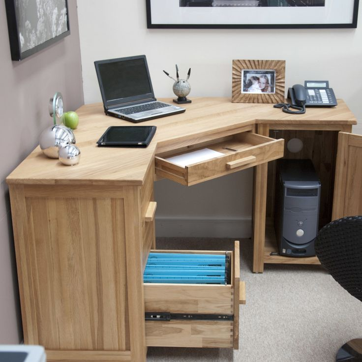 Oak Corner Computer Desk With Storage 2