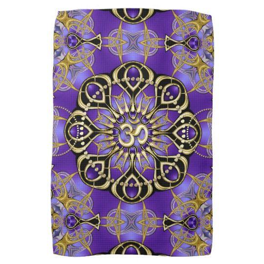 New Age Home Decor: Gold OM Purple Mandala Mindful Home Decor Towel