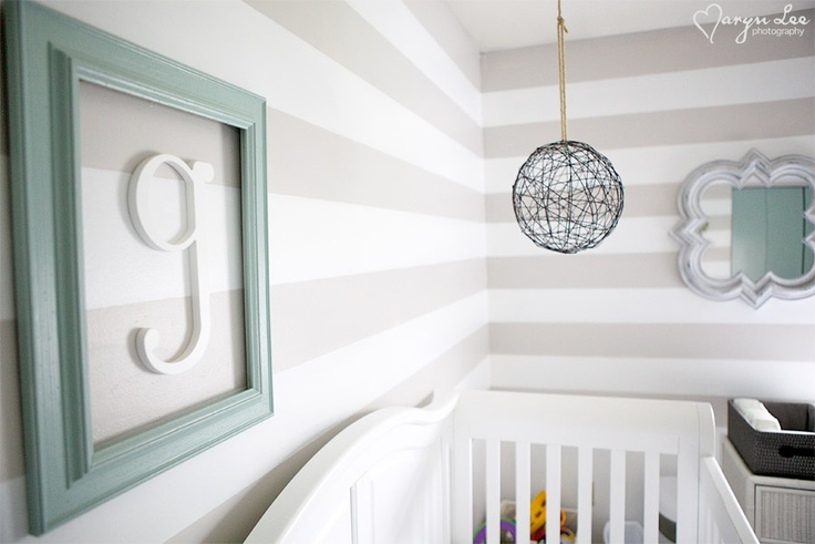 grey, white and light blue nursery...I love the letter within a frame