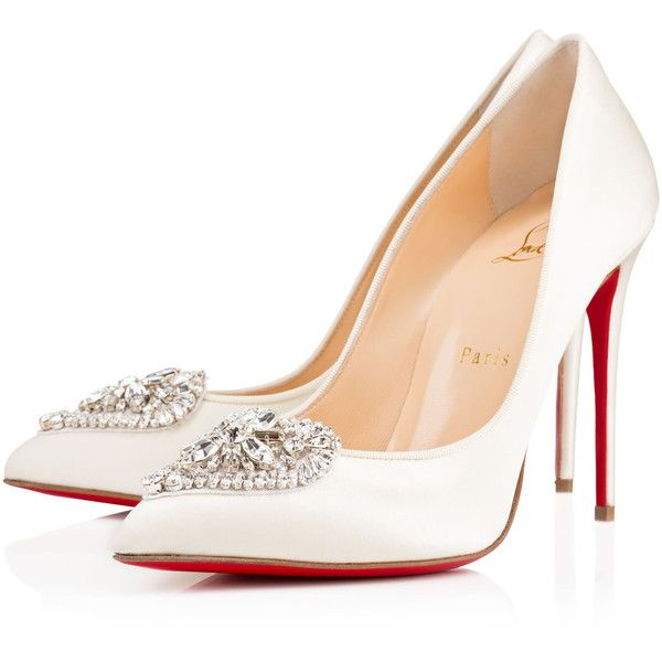 Christian Louboutin Cristacora (1,710 CAD) ❤ liked on Polyvore featuring shoes, pumps, louboutin, heels, ivory, high heel shoes, christian louboutin, special occasion shoes, evening shoes and pointed toe pumps