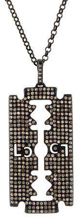 Lynn Ban Diamond Razor Blade Pendant Necklace