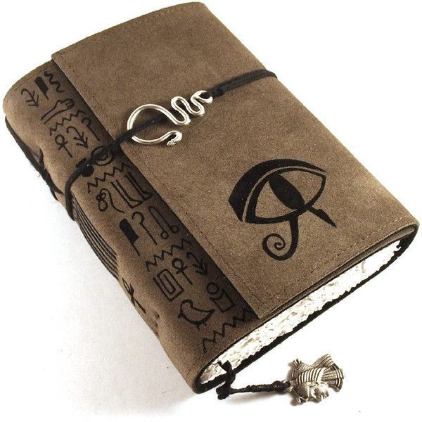 Journal, Leather, Suede, Diary, Handmade, Ancient Egypt Eye of Horus ($42) ❤ liked on Polyvore featuring home, home decor and stationery